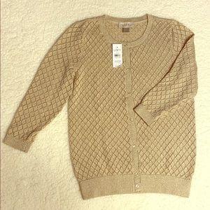 Ann Taylor LOFT XXS Petite tan gold sweater 3/4L
